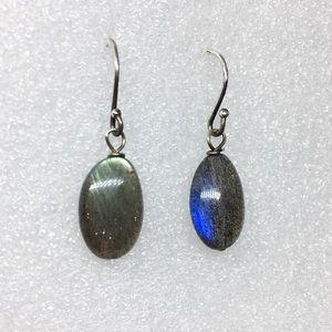 Sterling 925 Iridescent Labradorite Drop Earrings